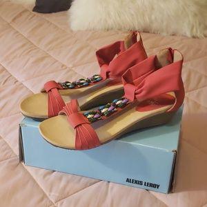 NIB red jeweled sandals